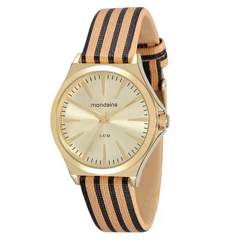 Relógio Feminino Dourado Pulseira de Couro Bege Original +NF