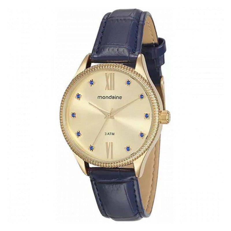 Relógio Feminino Dourado Pulseira Couro Azul Com Pedras + NF