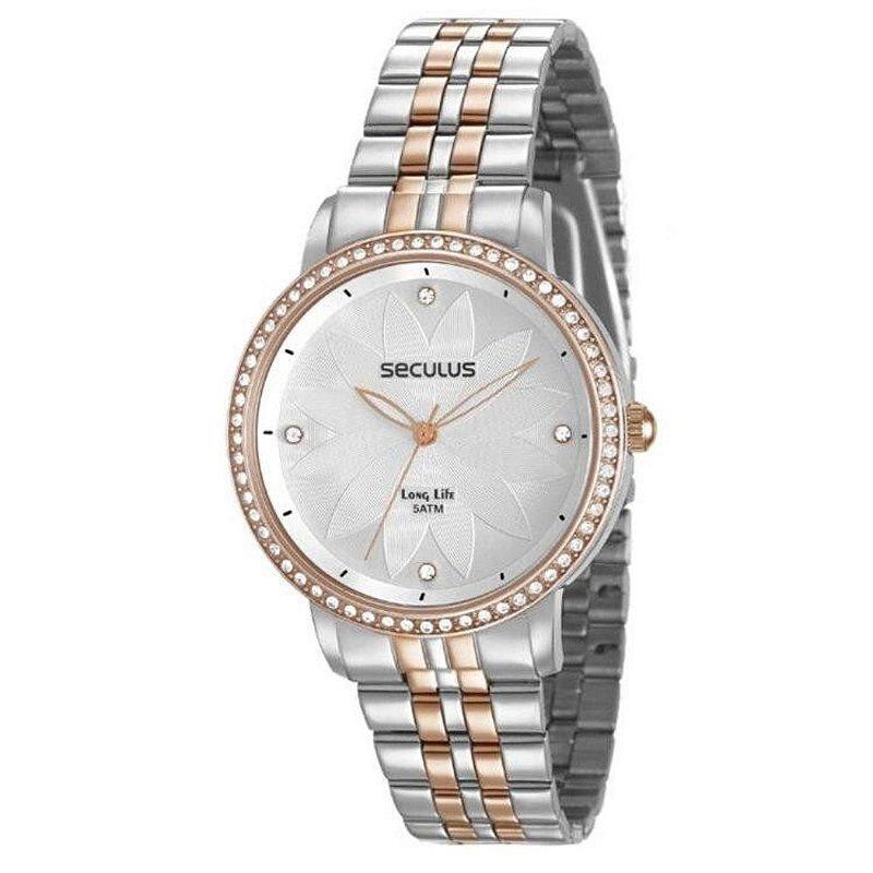 Relógio Feminino Prata e Rose Fundo com Flor Prata Seculus