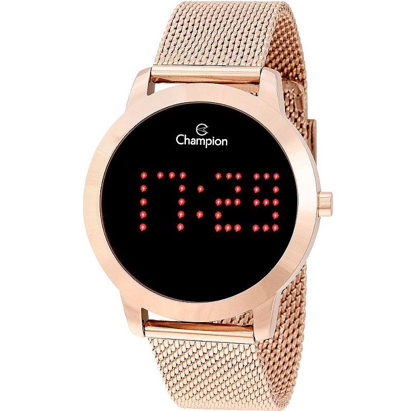 Relógio Feminino Rose Champion Digital Led Vermelho Original