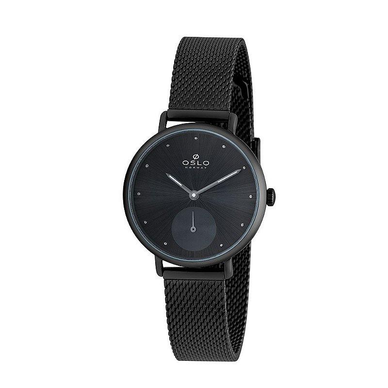 Relógio Feminino Slim Preto Pulseira Telinha Original + NF