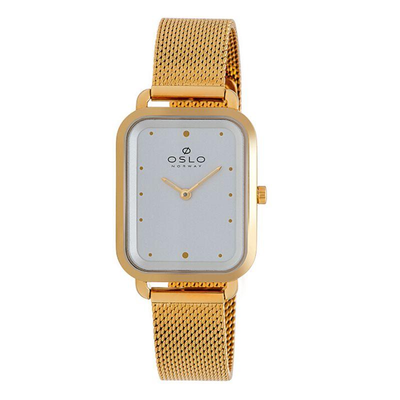 Relógio Feminino Slim Quadrado Dourado Fundo Prata Oslo + NF