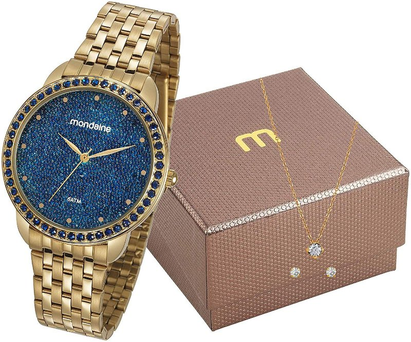 Kit Relógio Feminino Dourado Mondaine com Semi Joia Original