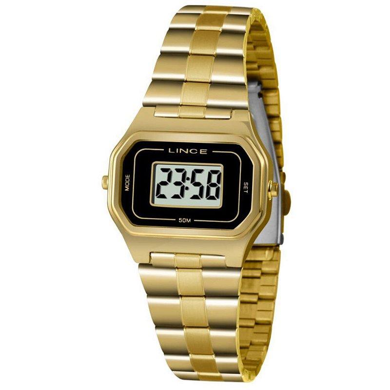 Relógio Feminino Dourado Digital Lince Quadrado Original+NF