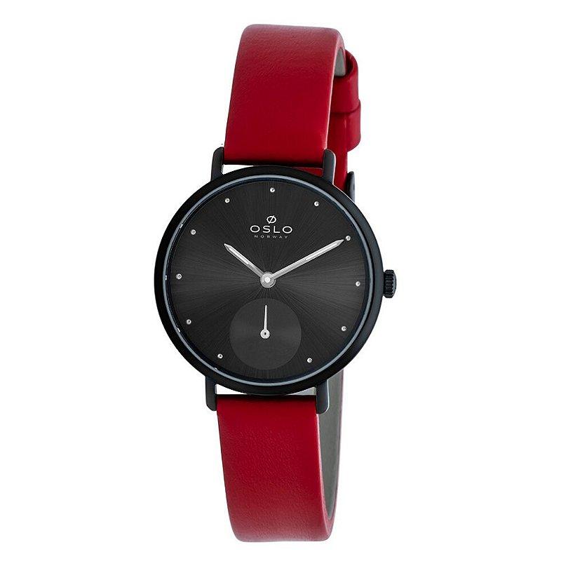 Relógio Feminino Slim Preto Com Pulseira De Couro Vermelha