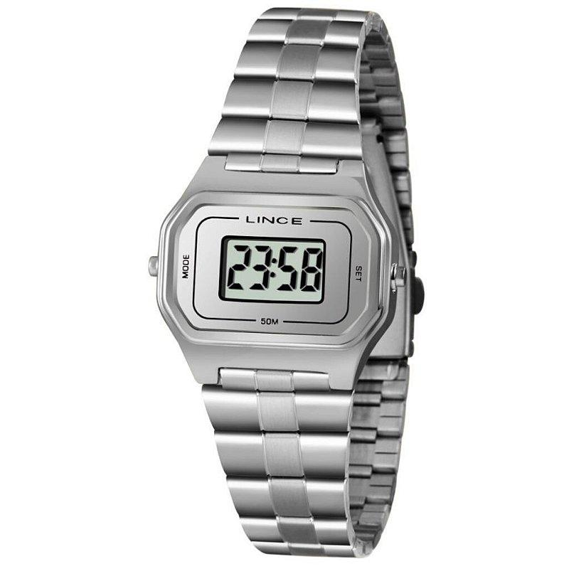 Relógio Feminino Prateado Digital Lince Quadrado Original+NF