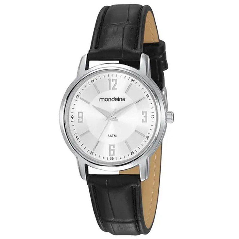 Relógio Feminino Mondaine Prateado Pulseira de Couro Preto