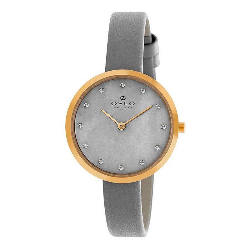 Relógio Feminino Dourado Slim Madrepérola Cinza De Couro +NF