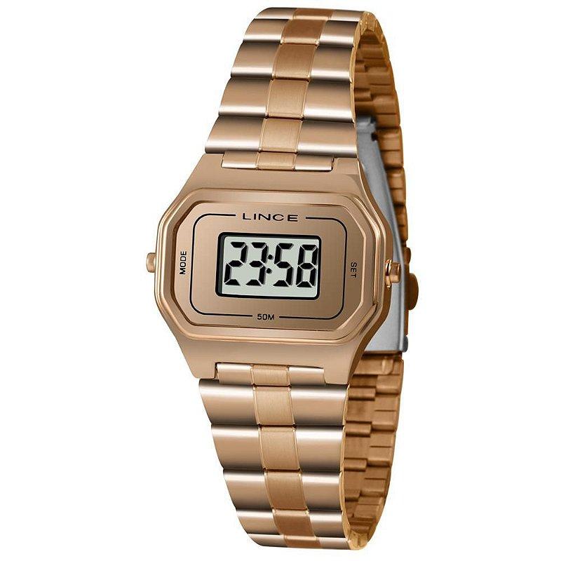Relógio Feminino Rose Quadrado Pequeno Lince Digital + NF