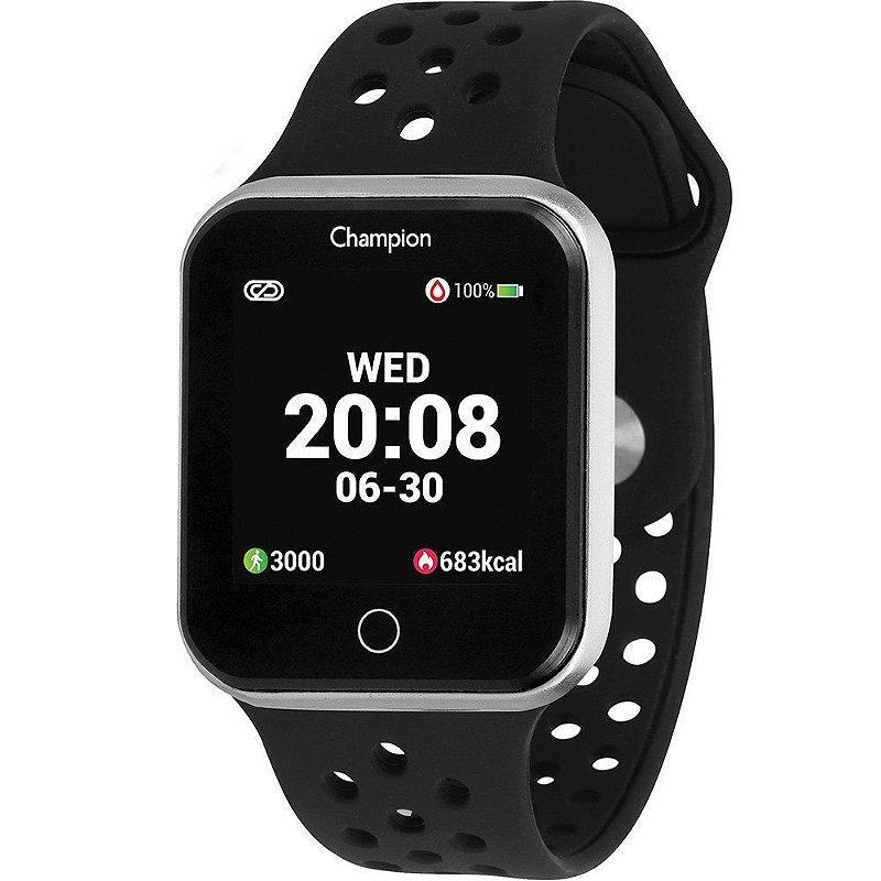Smartwatch Champion Quadrado Prata IOS Android Original+NF
