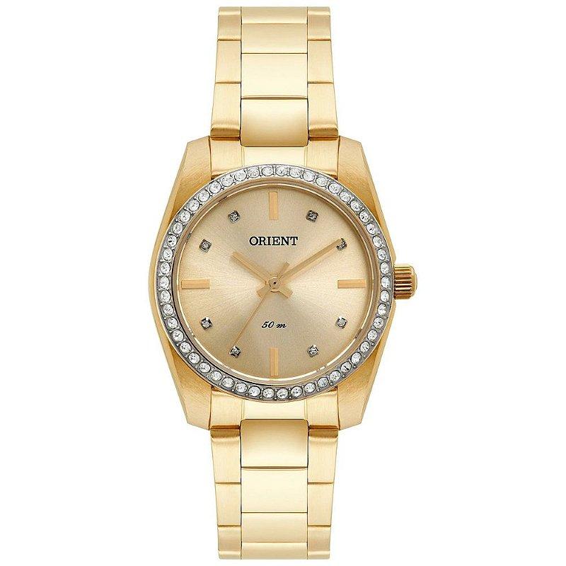 Relogio Feminino Dourado Orient Pedras Fundo Dourado FGSS007