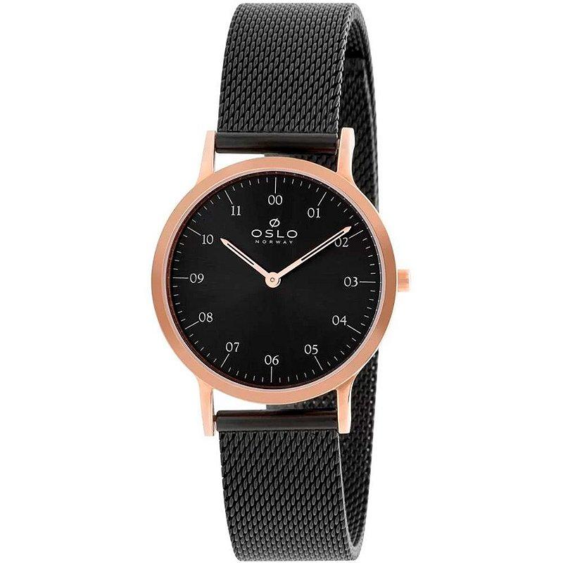 Relógio Feminino Rose Oslo Slim Pulseira Preta Original + NF
