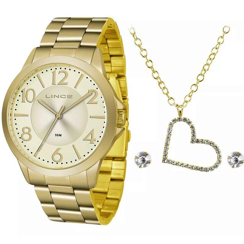 Relogio Feminino Dourado Lince Com colar de Coração e Brinco
