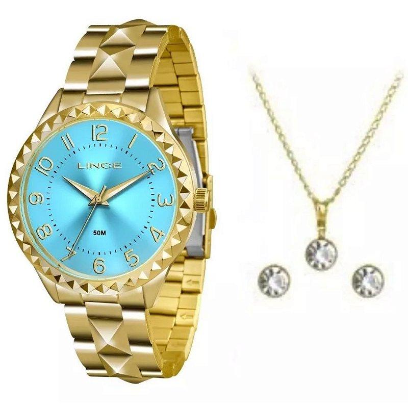 Kit Relogio Lince Feminino Dourado fundo Azul LRG4380L KU25