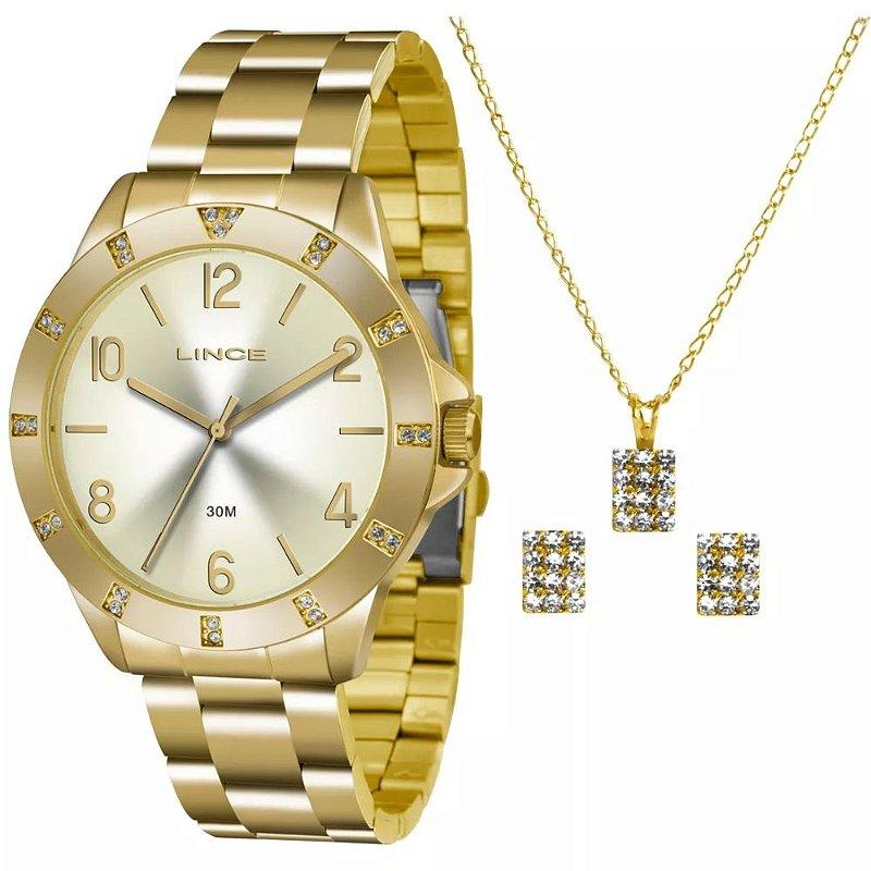 Kit Relogio Feminino Dourado com Pedras Lince Colar e Brinco