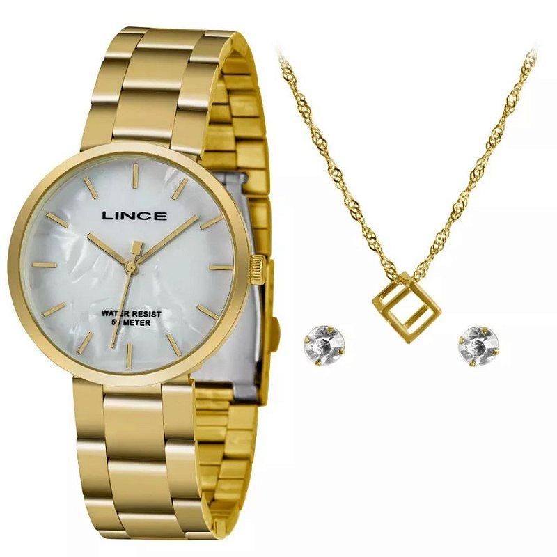 Kit Relogio Feminino Dourado Lince com Colar e Brinco KW70B1