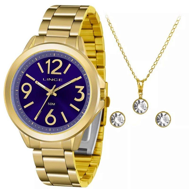 Kit Relogio Feminino Lince Dourado fundo azul colar e brinco