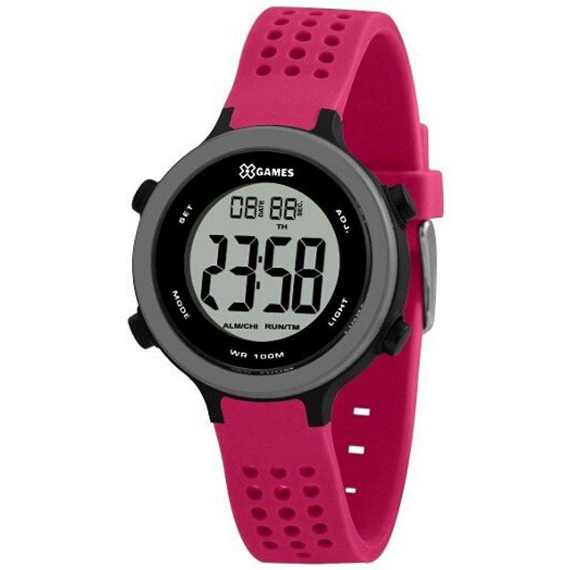 Relógio Feminino Rosa e Preto X-GAMES Digital Silicone