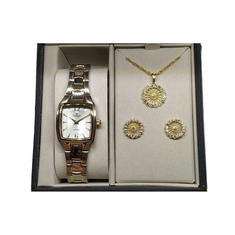 Kit Relógio Feminino Prata Champion Colar e Brincos Dourado
