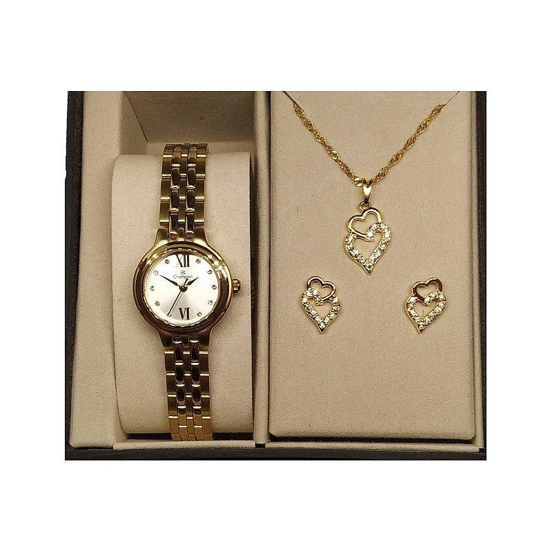 Kit Relógio Feminino Dourado Champion Pequeno Colar e Brinco