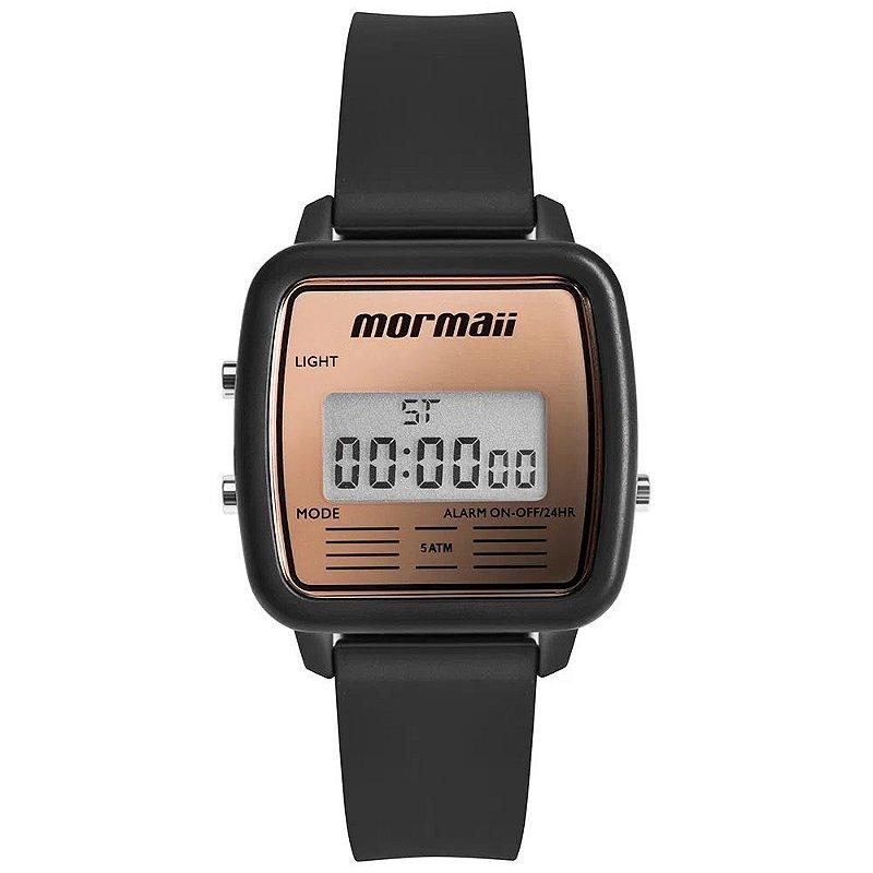 Relógio Feminino Quadrado Preto Mormaii Digital Original