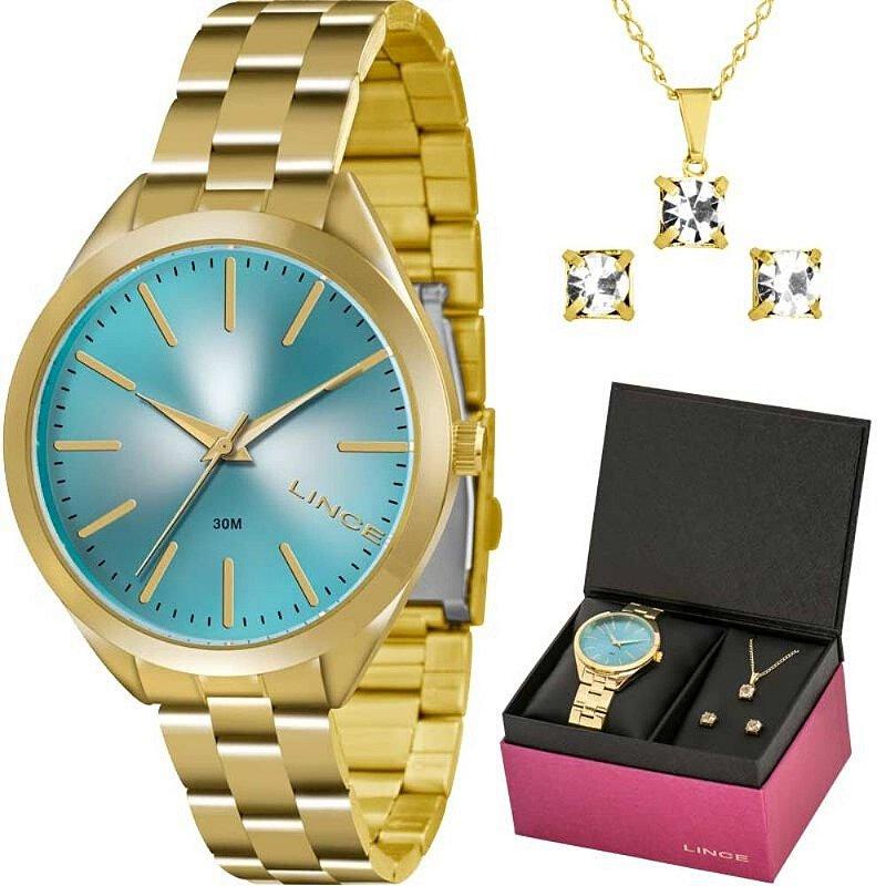 Kit Relógio Dourado Fundo Azul Feminino Com Brinco e Colar