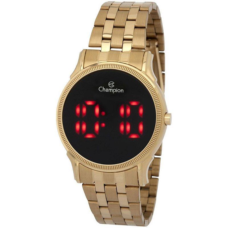Relógio Feminino Digital Dourado Champion Led Vermelho