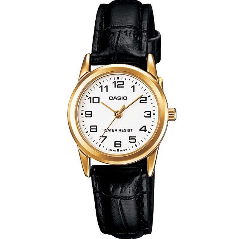 Relógio Feminino Dourado Casio Pulseira Couro Preto com Data