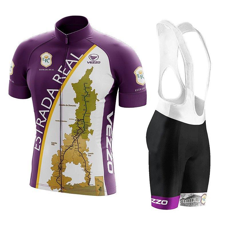 cad4b19e98 Conjunto Masculino Ciclismo e MTB Vezzo Estrada Real Roxa com Bretelle