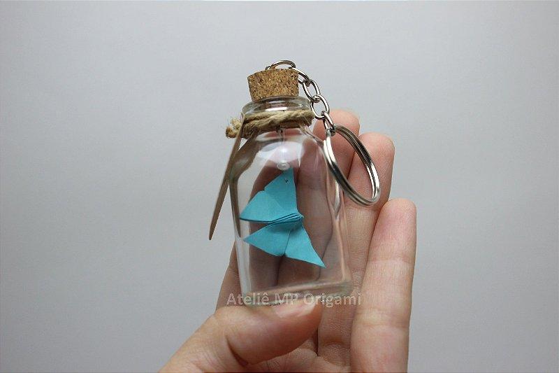 Lembrancinha maternidade borboleta origami com chaveiro