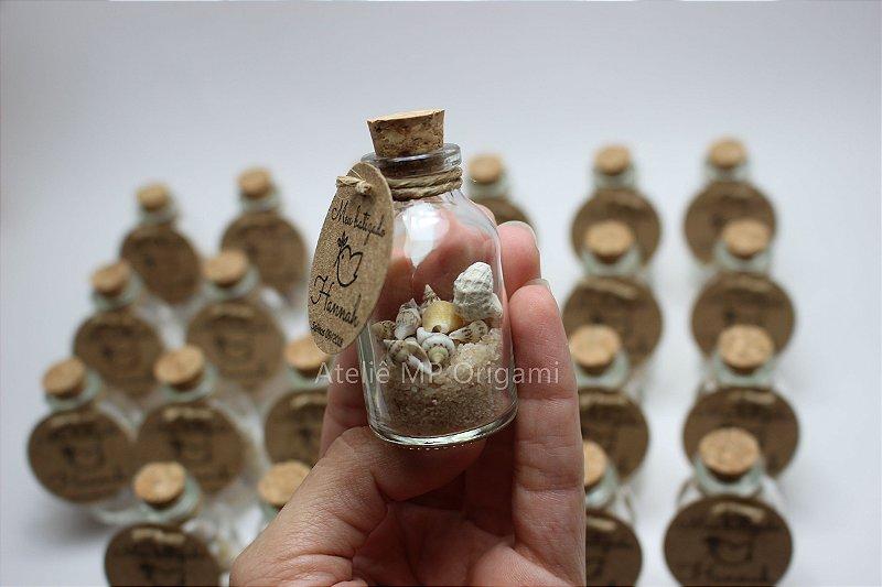 Lembrancinha batizado conchas na garrafinha