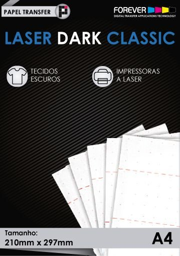 Papel Transfer 50 folhas Forever Laser Dark Classic A4 9679cf726b902