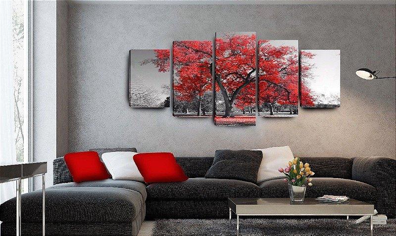 Quadro decorativo sala de jantar arvore vermelha