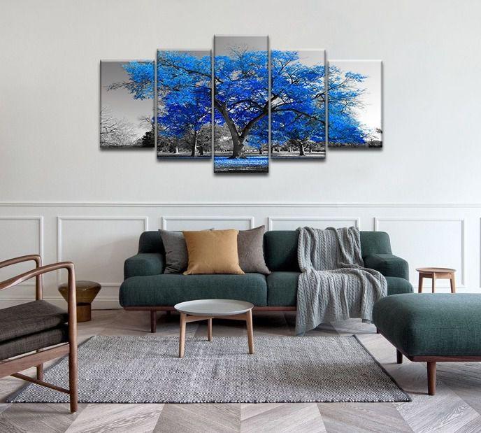 Quadro decorativo sala de jantar quarto arvore azul