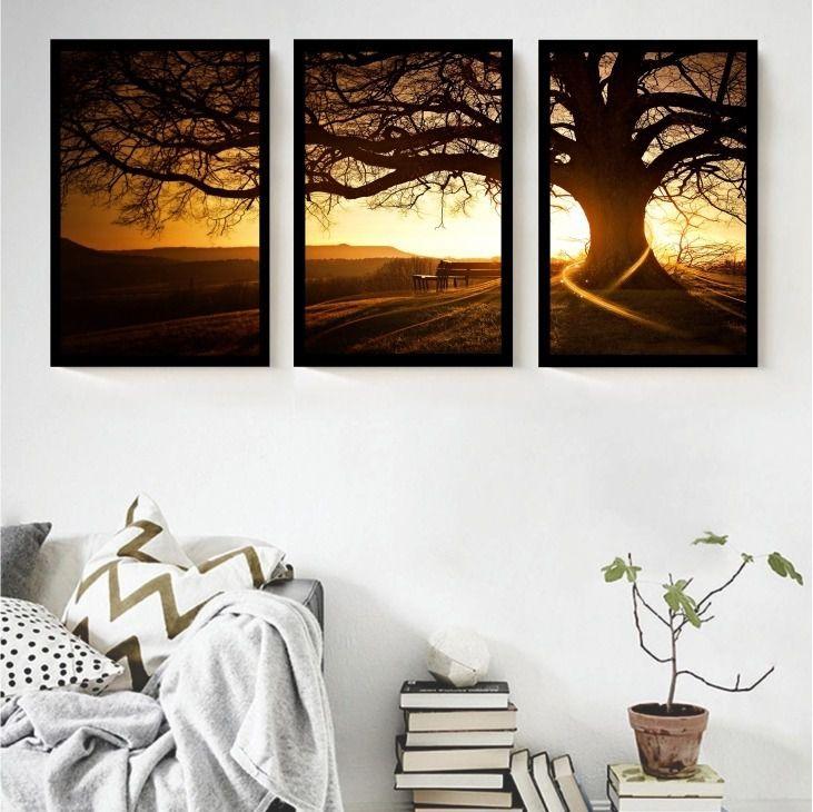 Quadros decorativos paisagen sala de jantar quarto com vidro e moldura