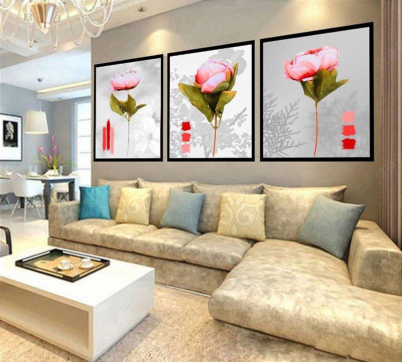 Quadro Mosaico Decorativo Flores Tulipas Sala Quarto 180x60