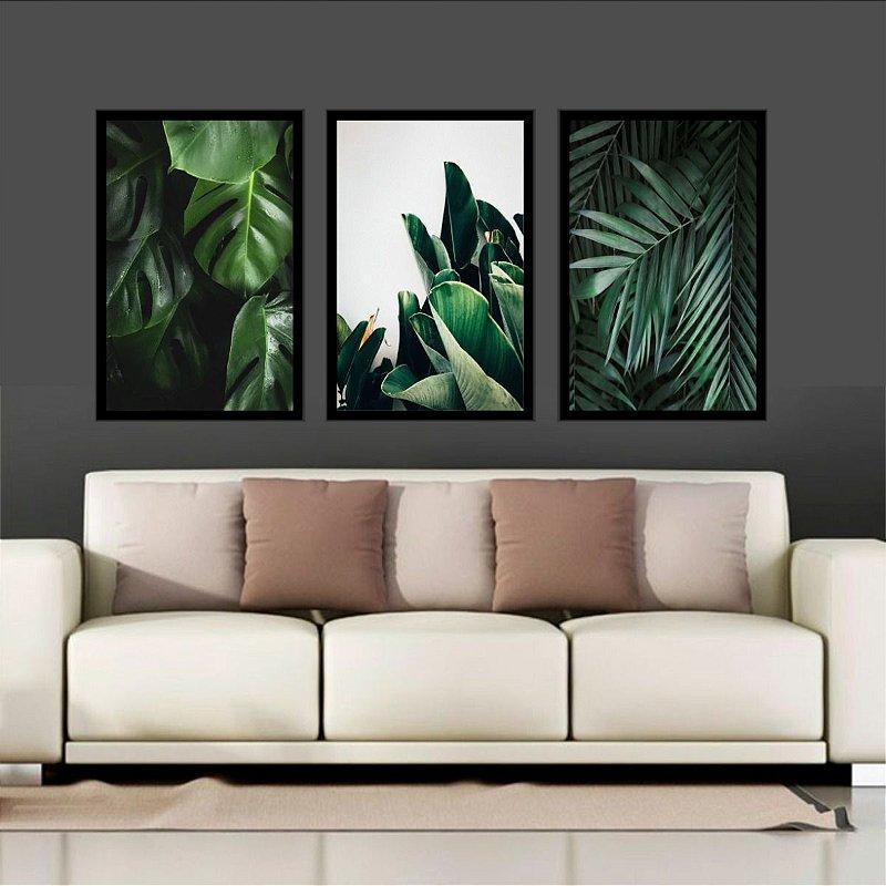 Quadro Folhas Verdes  Moldura 120x60cm