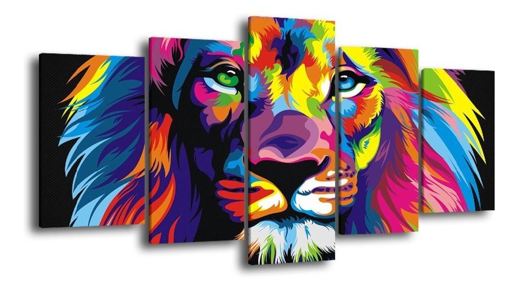 Quadro Decorativo Grande Sala Quarto Leão Judá Colorido
