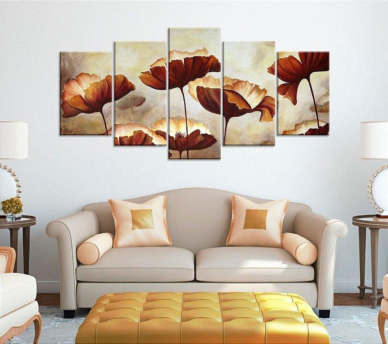 Quadro Decorativo 129x63 Sala Quarto Flores Aquarela