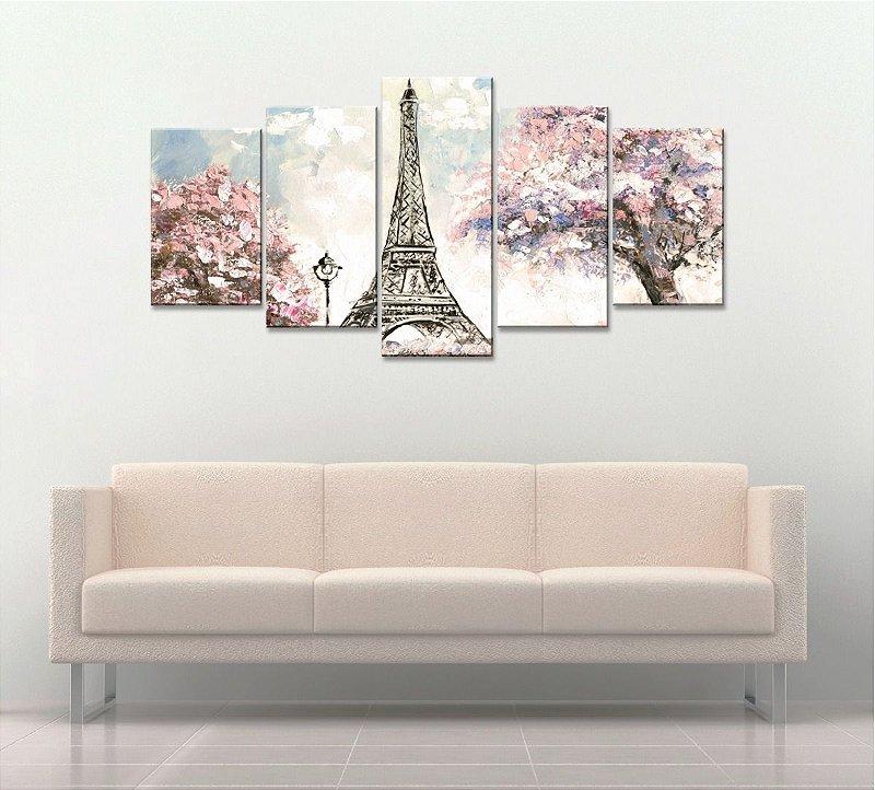 Quadro Decorativo 129x63 Sala Quarto Torre Eiffel Paris