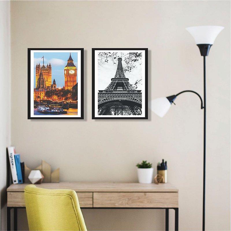 Quadro Decorativo Torre Eiffel Com Moldura Vidro Para Sala