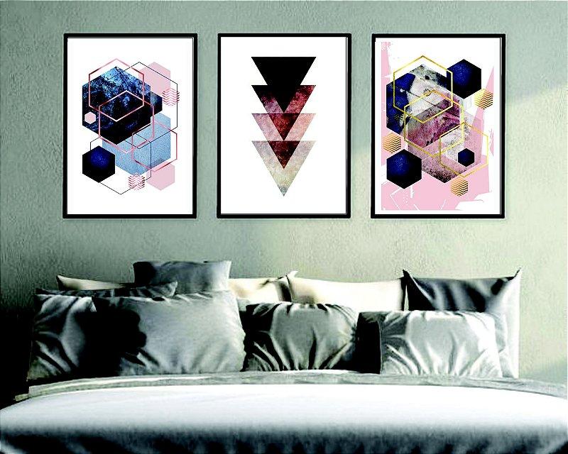 Quadros Decorativos Geométrico quarto sala vidro moldura