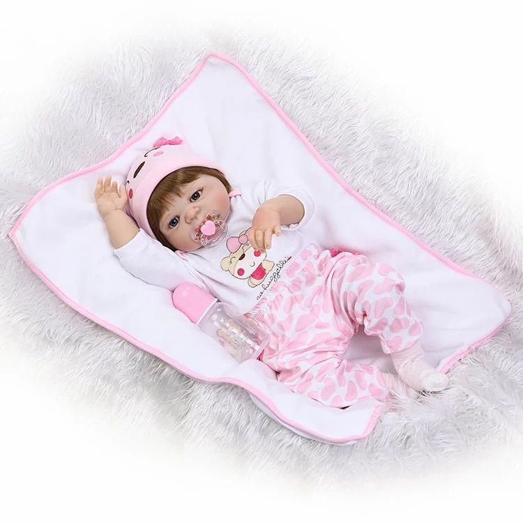 13c314898 Boneca Bebê Reborn Menina Inteira de Silicone Pode dar Banho Cabelo  Castanho 46 Centímetros ANA LUIZA