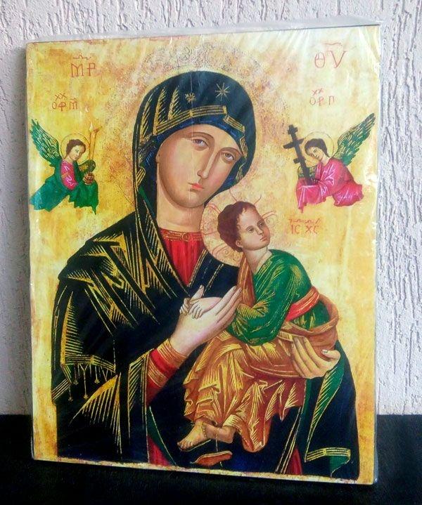 Ícone Nossa Senhora do Perpétuo Socorro - cores vivas