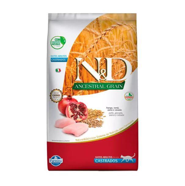 Ração Farmina N&D Ancestral Grain para Gatos Castrados Sabor Frango e Romã 7,5kg