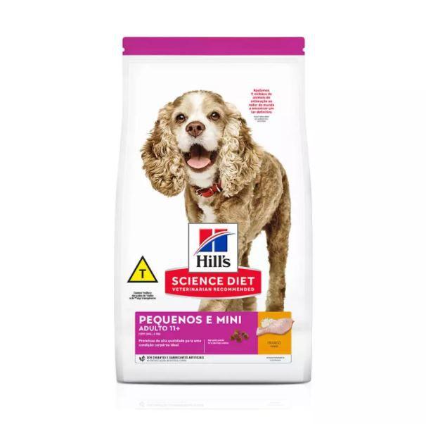 Ração Hills Science Diet para Cães Adultos 11+ de Mini e Pequeno Porte Sabor Frango 2,4kg