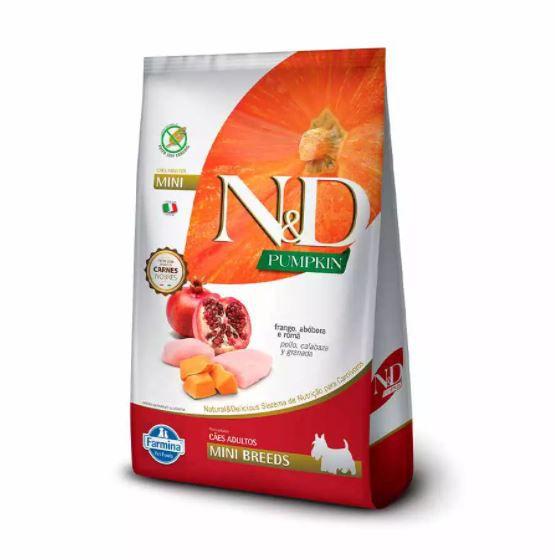 Ração N&D Pumpkin para Cães Adultos Raças Mini sabor Frango, Abóbora e Romã 2,5kg