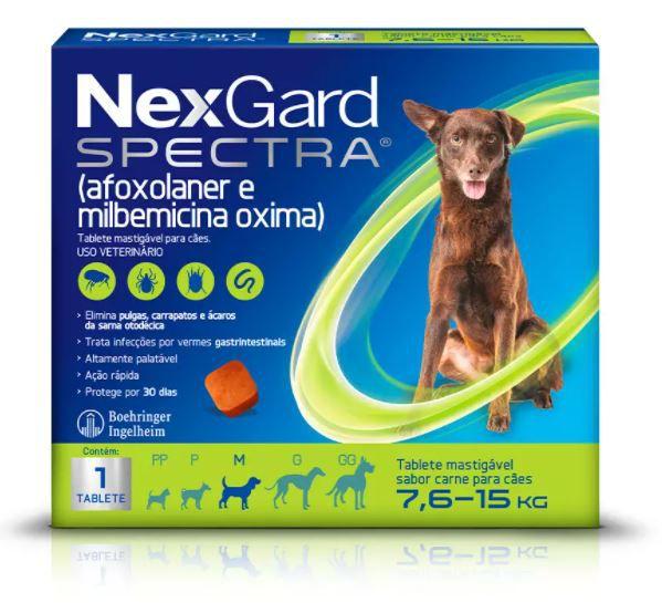Antipulgas e Carrapatos NexGard Spectra para Cães de 7,6 a 15kg