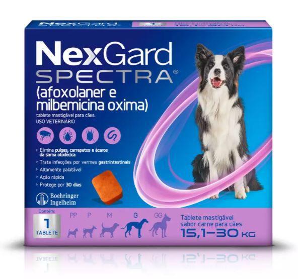 Antipulgas e Carrapatos NexGard Spectra para Cães de 15,1 a 30kg
