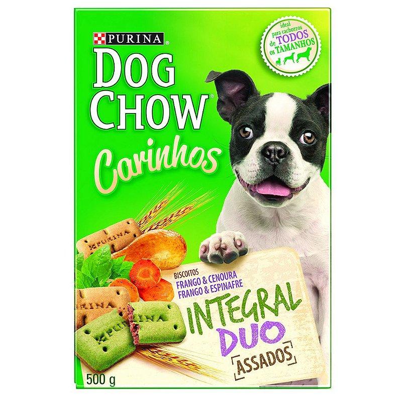 Biscoito Dog Chow Carinhos Integral Duo para Cães Adultos Sabor Frango & Cenoura e Frango & Espinafre